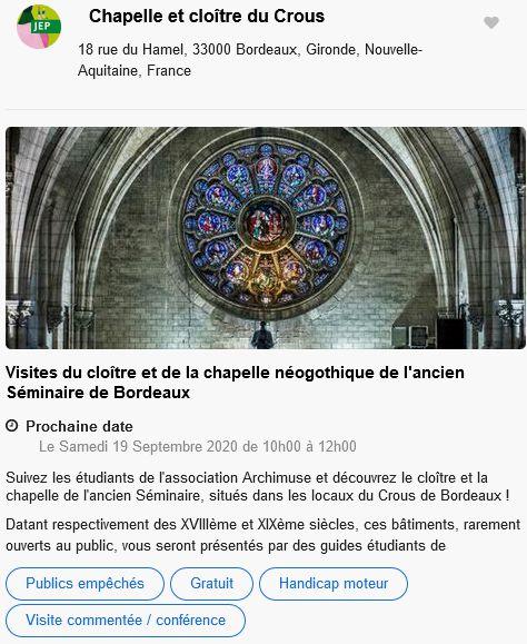 20 Journees Europeennes Patrimoine Site Bordeaux Chapelle & Cloitre