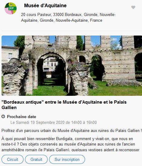 20 Journees Europeennes Patrimoine Site Bordeaux Musee Aquitaine