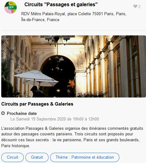 20 Journees Europeennes Patrimoine Site Paris Circuits Passages & Galeries
