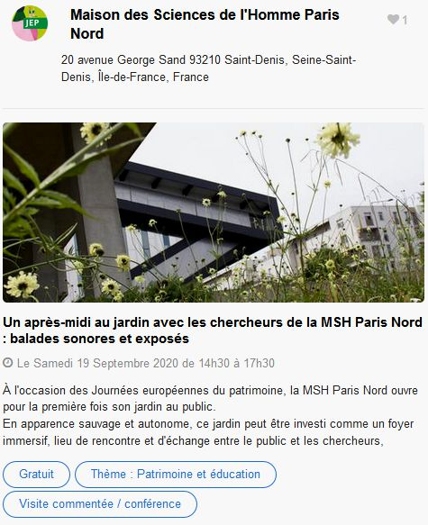 20 Journees Europeennes Patrimoine Site Paris Maison Sciences Homme
