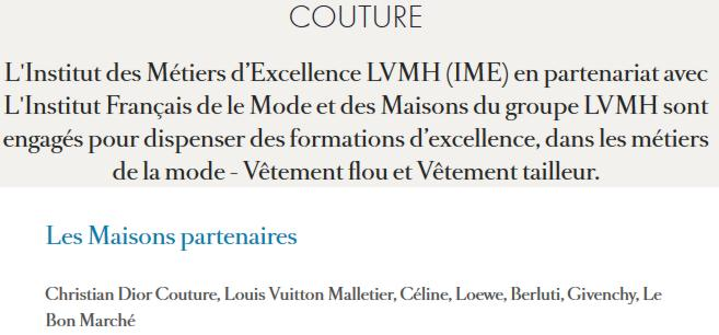 19 Formation LVMH Institut des Metiers Excellence Couture