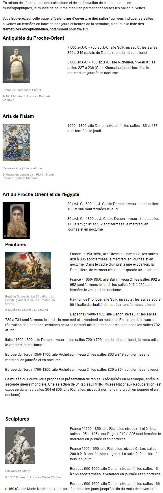 19 Louvre Calendrier Fermeture Salles